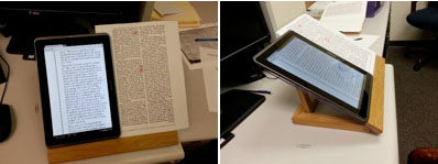 Figure 3. These two images (from the front and from the side) depict how a Samsung Galaxy 2 tablet and a hardcopy printout of a periodical text from the 1800s are used to proofread for transcription and coding accuracy.