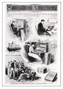 "August 30, 1890, cover of Scientific American depicting the Hollerith punch card machine (called the ""Electrical Enumerating Mechanism"") processing the U.S. Census.]"