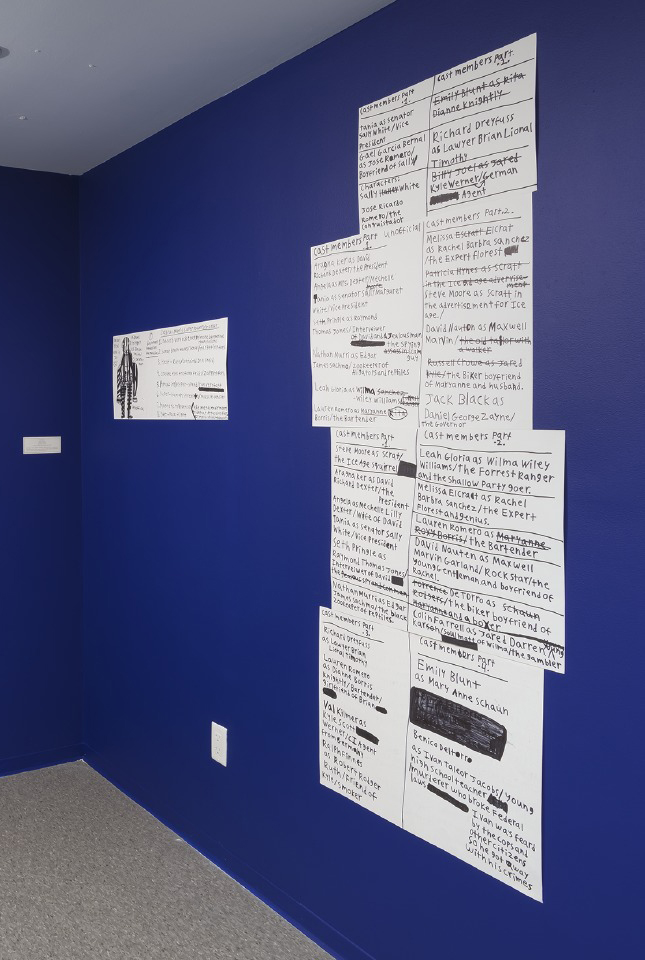 Figure 5. Right: Evan Hynes, Stories (2014). Dimensions variable. Marker on paper. Photo: Robert Weydemeyer.
