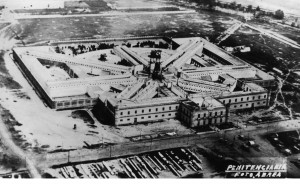 Image 3. Aerial photograph of the Lecumberri penitentiary, now Mexico's national archive. I am grateful to Silvia Mejía of Rozana Montiel Estudio de Arquitectura for making this image available for use.
