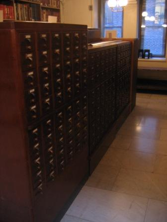 Figure 6. One of two card catalogues in the Peabody.
