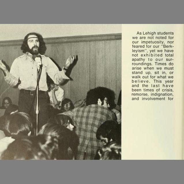 Student Gene Mater speaking