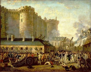 Figure 1. Storming of the Bastille and arrest of the Governor M. de Launay, July 14, 1789. Those are probably archival records burning in the background.  Public domain Image via Wikimedia Commons. Artist unknown.