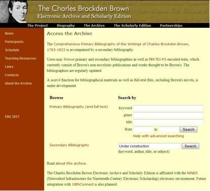 This screen shot illustrates the archive's interface design.