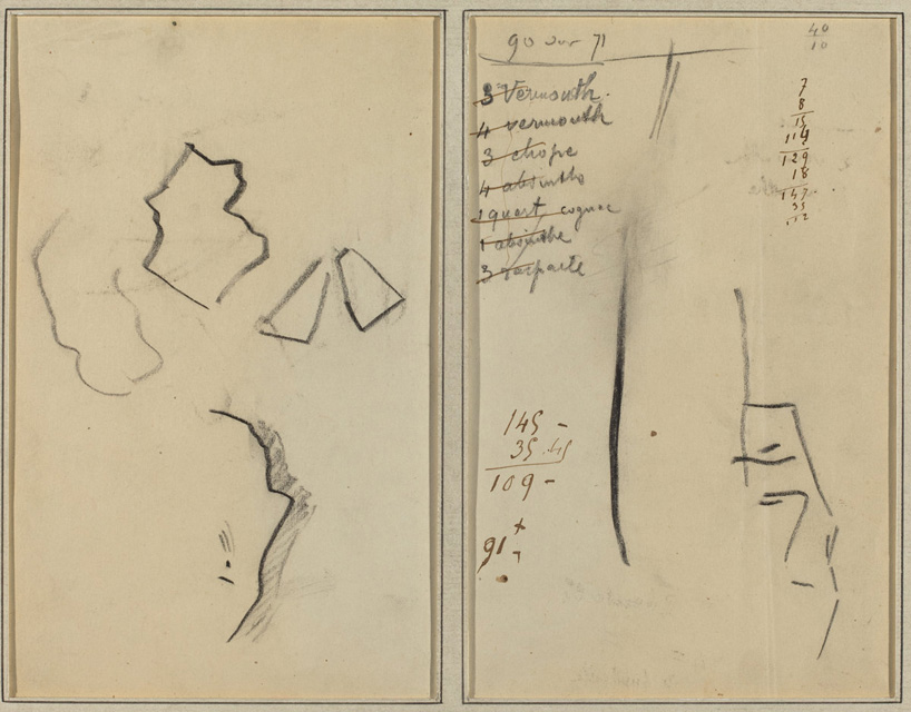 Paul Gauguin, A Profile and Four Shapes; Sketch of a Man's Head [recto], 1884-1888, Crayon, graphite, and pen and brown ink on wove paper, 6 5/8 x 8 11/16 in., The Armand Hammer Collection, 1991.217.64a. Courtesy National Gallery of Art, Washington.