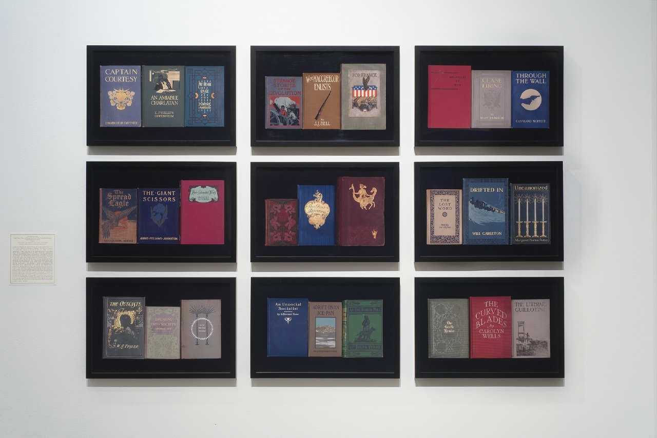 "Figure 11. Nina Katchadourian, Once Upon a Time in Delaware/In Search of the Perfect Book from the Sorted Books project (2012). Each image: 13 1/2x20"" framed. C-Prints. Photo: Robert Weydemeyer."