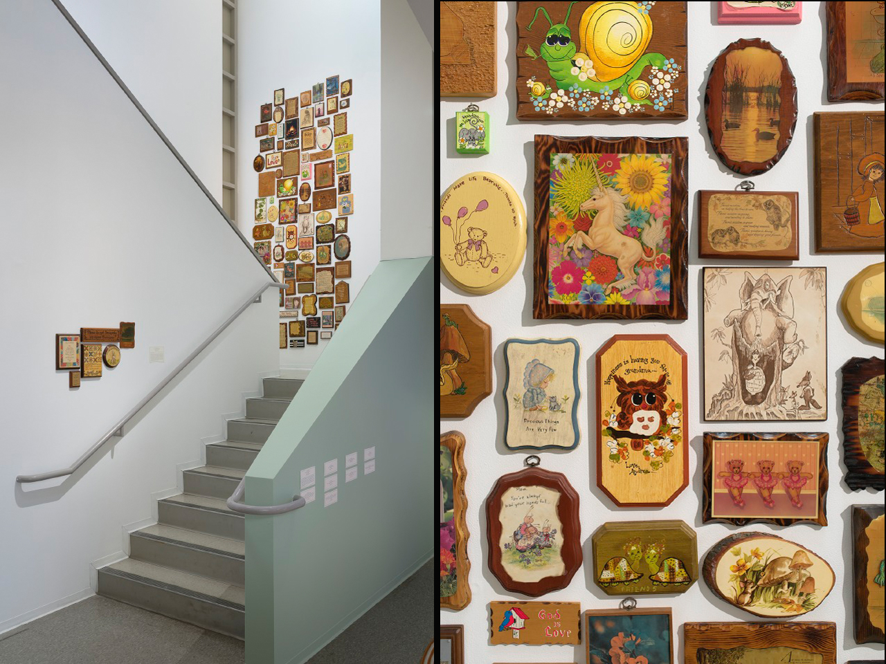 Figure 13. Michael Decker, That's Not The Way It Feels (2015). Dimensions variable. Collection of Wooden Wall Plaques. LEFT Photo: author. RIGHTPhoto: Robert Weydemeyer.