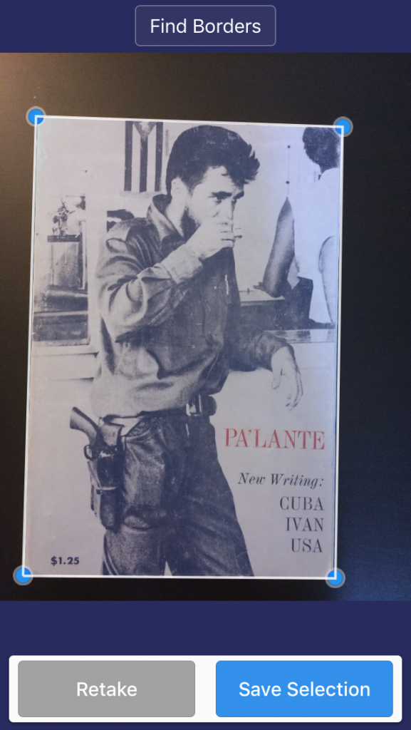 Figure 5. Pa'lante no. 1 cover, being captured by Scanner Pro 7. Edited by Howard Schulman and Elizabeth Sutherland Martínez. Cover photograph by Leroy Lucas.)